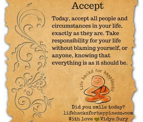 Accept #lifehacksforhappiness