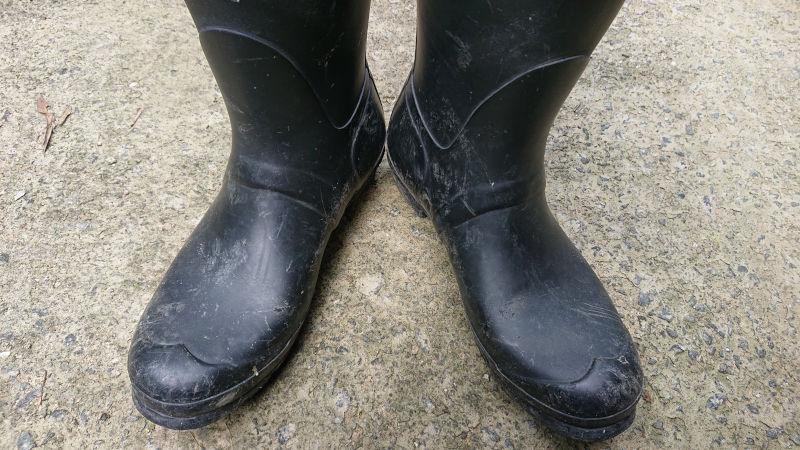 白く汚れたHUNTER長靴