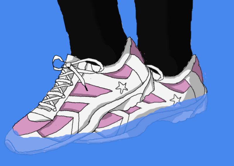 濡れる運動靴のイラスト