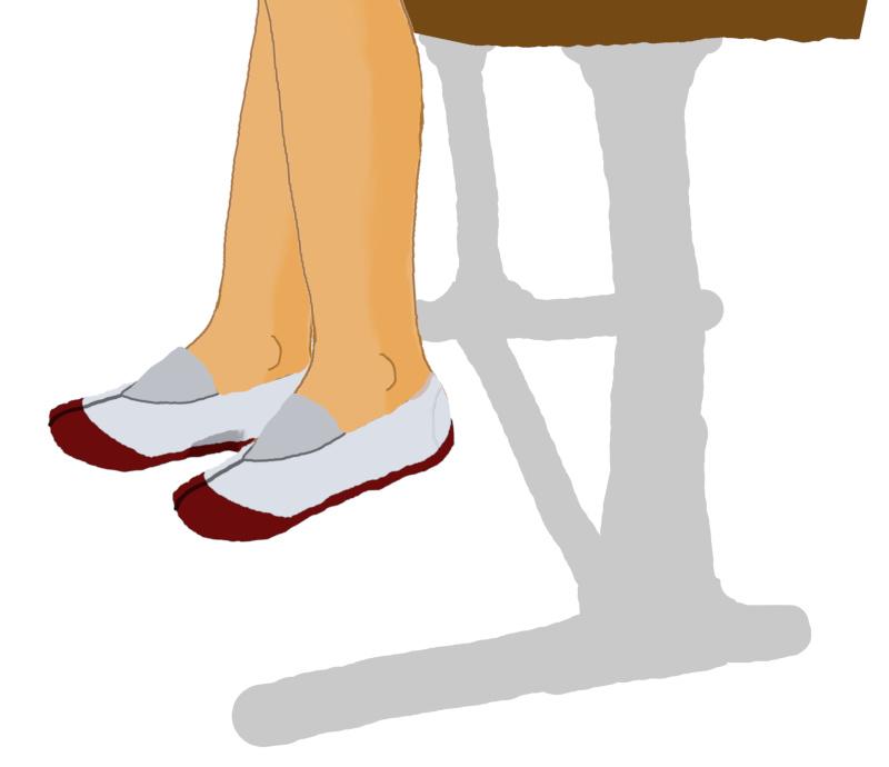 素足で上履き