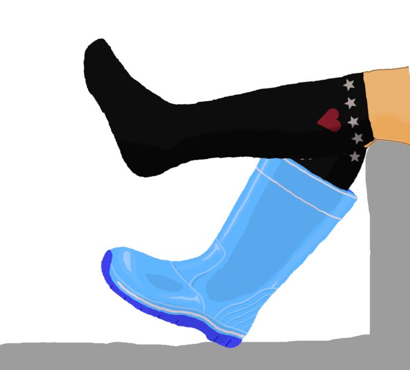 長靴を片足だけ脱ぐ