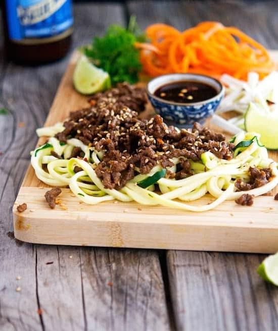 thai pork zoodle salad