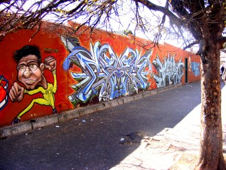 Many of the walls are filled with artistic graffiti
