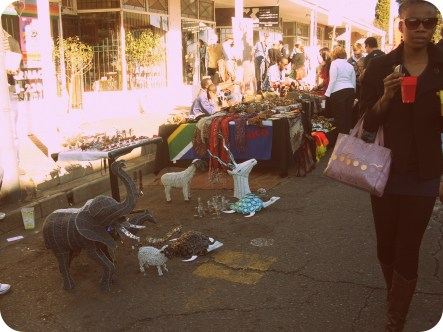 Many African style stalls set up along the street selling bits and pieces