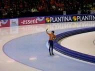 Dutch skater Jan Smeekens celebrates his victory