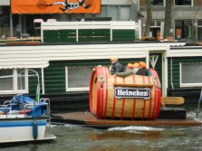 The best way to travel the canals...in a Heineken barrel!