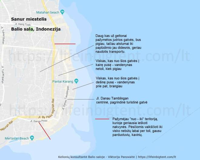 Sanur miestelio žemėlapis su viešbučiais Sanure