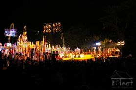Evening ceremony on the stage in Vesak day