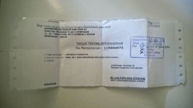 Indonesian visa receipt