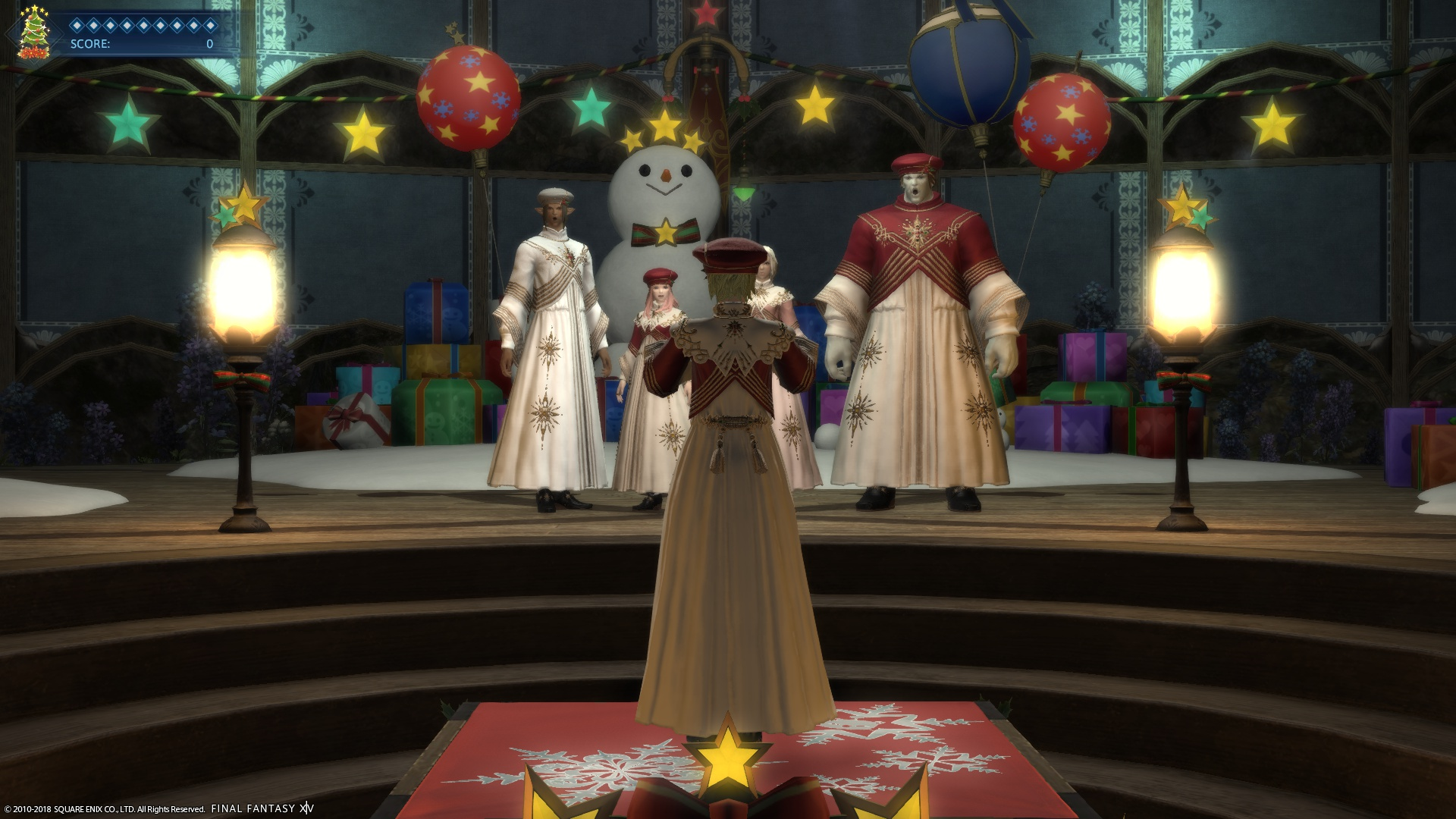 Patricia, a White Mage, is holding a wand ready to conduct the carol.