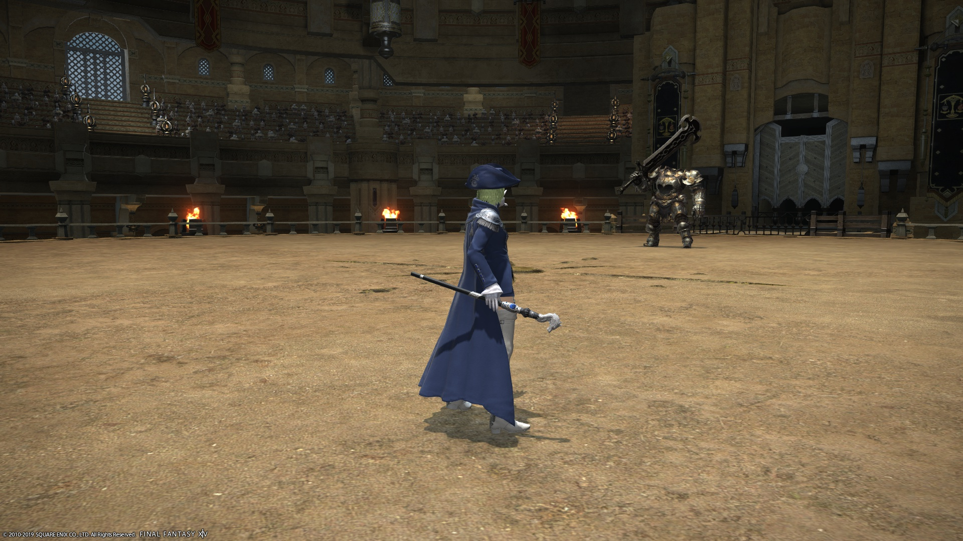 Patricia, as a Blue Mage, standing there with a cane ready to battle an Iron Giant.