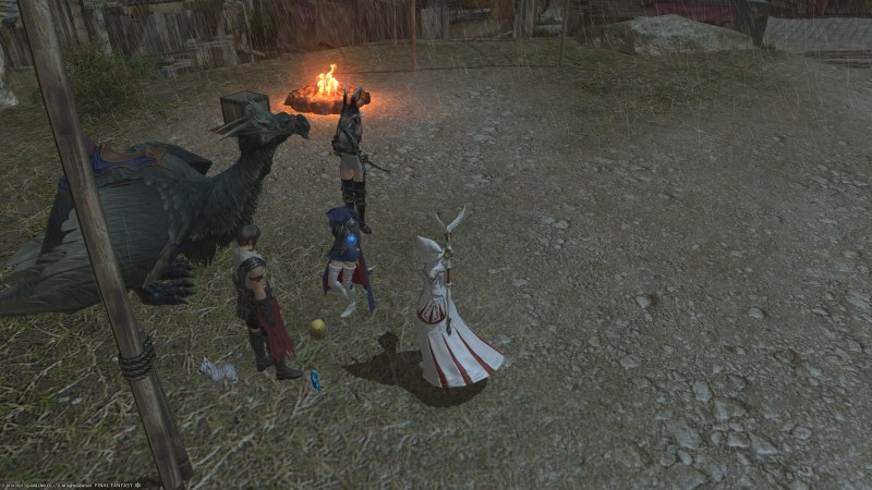 A Blue Mage being laughed at by a Ninja, and comforted by a White Mage.