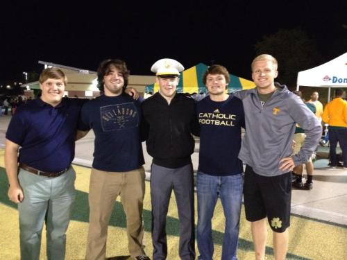 Teddy with some of his high school football buddies, taken by Patrice Staley, proud mom to Reece, the handsome cadet in the middle