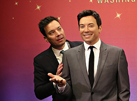 NEW YORK, NY - MARCH 27:  Host of NBC's 'The Tonight Show', Jimmy Fallon (L) joins Madame Tussauds to debut five unique, brand new, never before seen wax figures of the television host at Madame Tussauds New York on March 27, 2015 in New York City.  (Photo by Cindy Ord/Getty Images for Madame Tussauds New York)