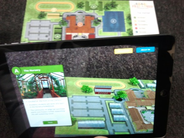 The iPad transforms the one-dimesional image into an interactive tour of the property.