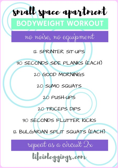 small space apartment workout (no noise, no equipment)