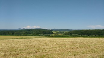View across the fields to Windelberg from Hohe Flum