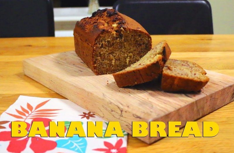 Delicious banana bread hot out of the oven.
