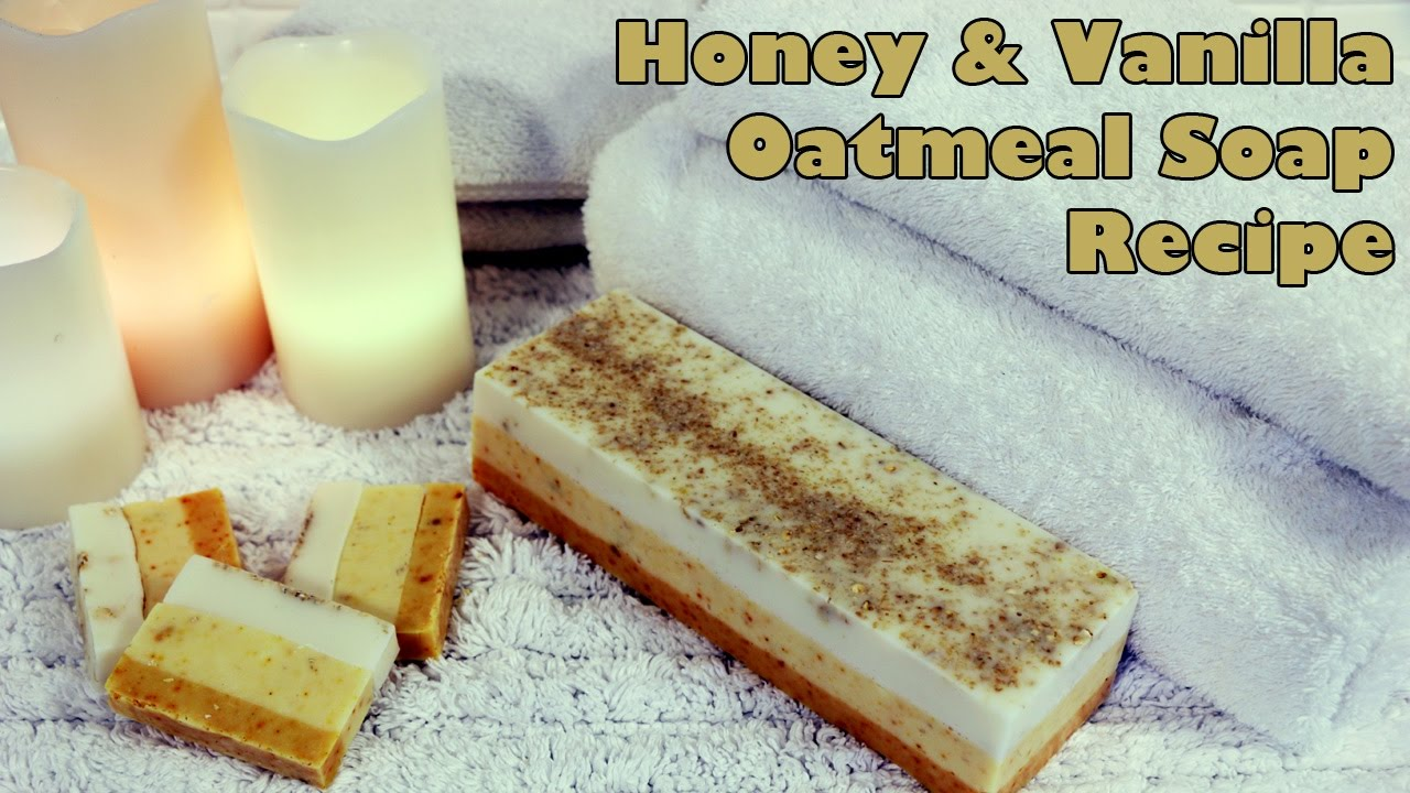 A beautiful triple layered soap loaf of honey and vanilla, with oatmeal, using a goats milk melt and pour soap base.