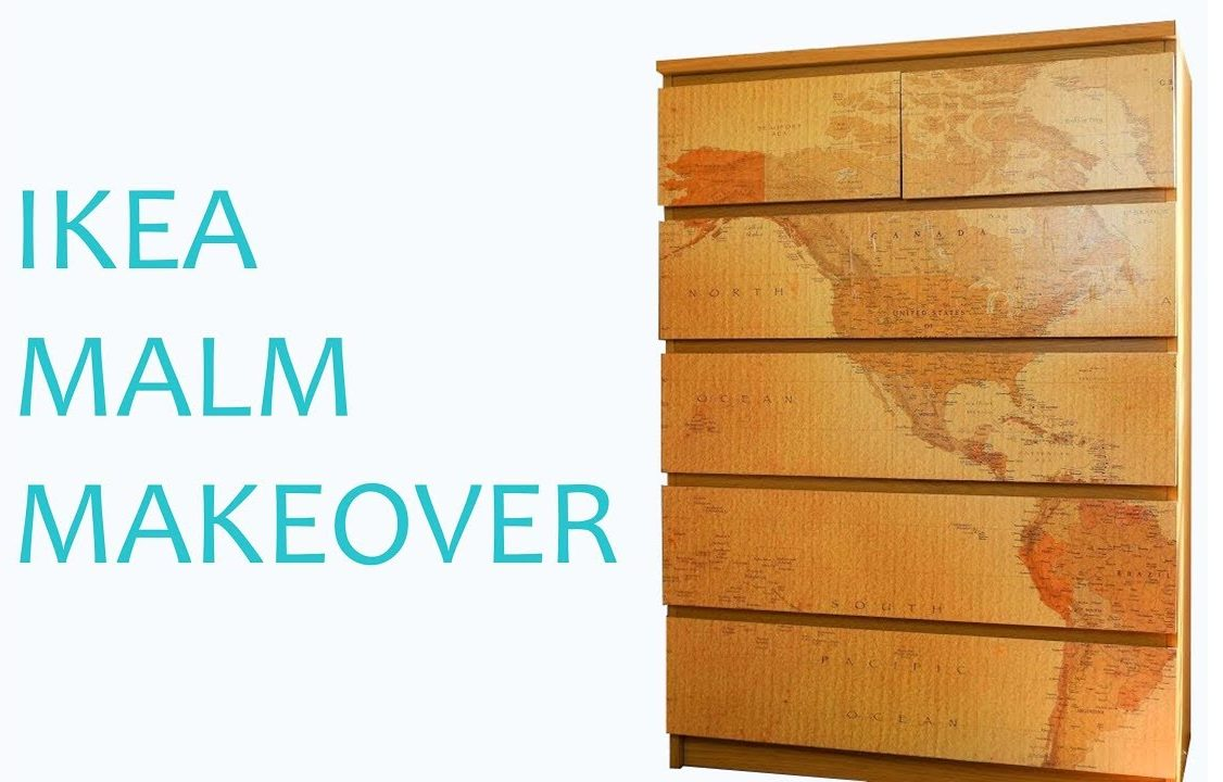 Ikea Malm chest of drawers transformed into something special using old map wallpaper!