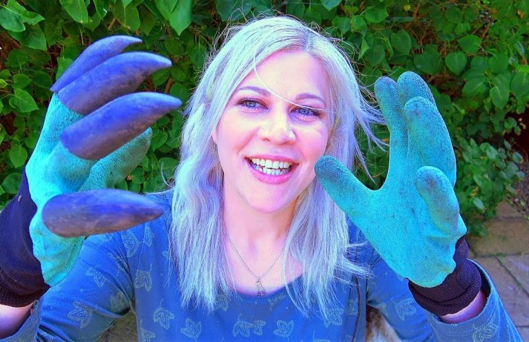 Christine showing off the gardening gloves with claws, which are one of her summer favourite products.