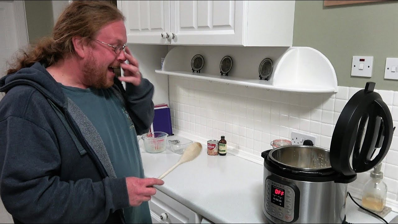 Tim having a good laugh, making rice pudding in the Instant Pot pressure cooker.