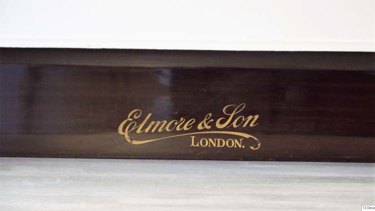"section of old piano lid ""Elmore and Son, London"" in original gold leaf"