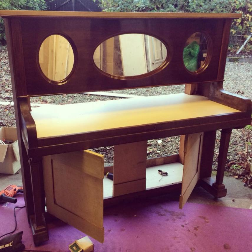 piano dressing table in progress showing back wood beams have been removed