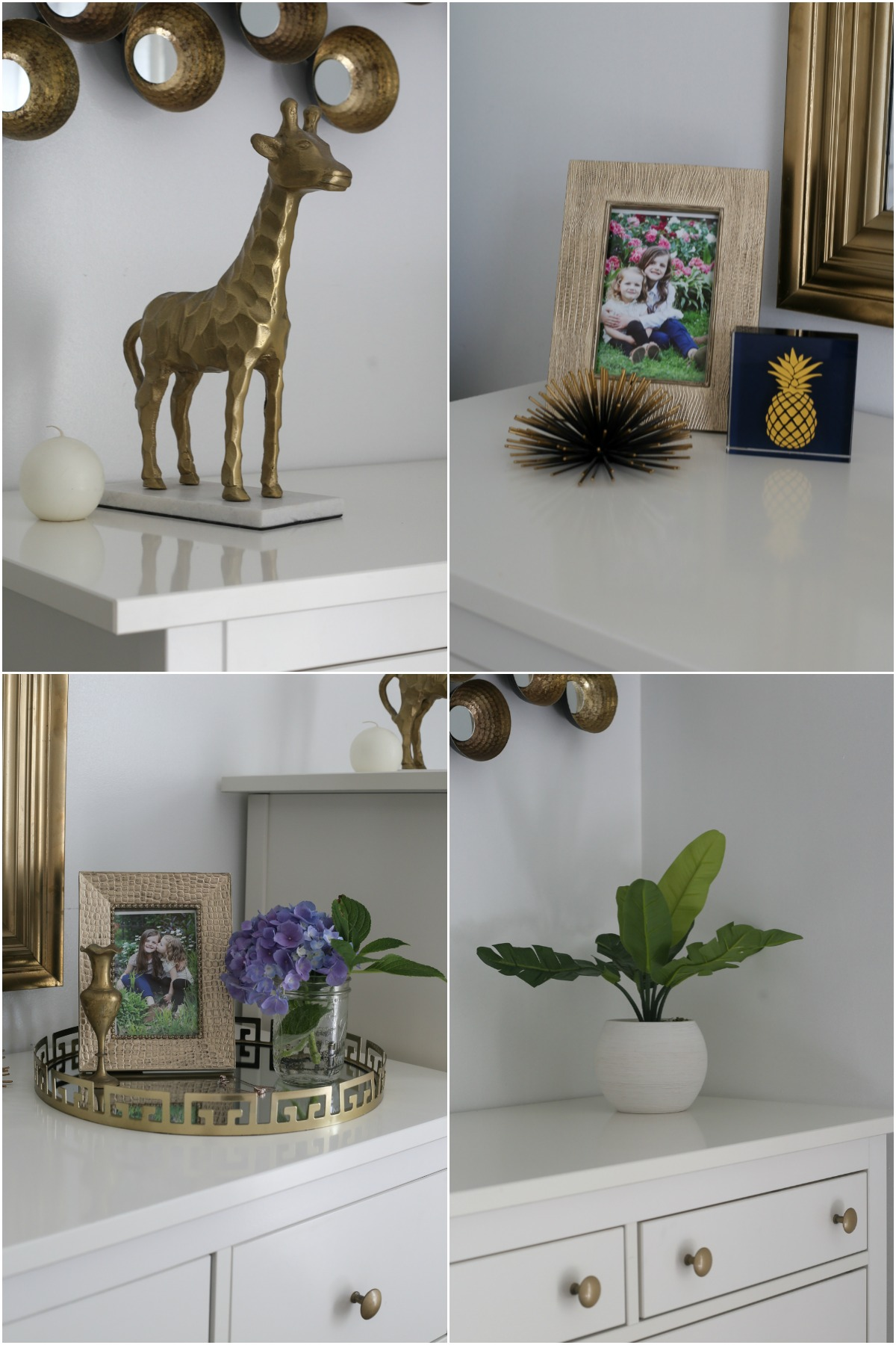 A collage of the different decorations we have in the bedroom.