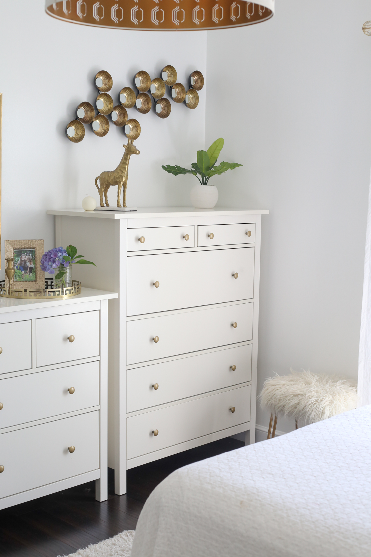 Tall dresser with a plant and gold giraffe.