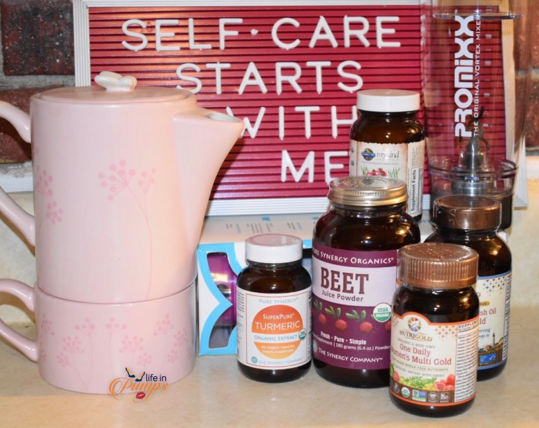 self care sign, life in pumps, tea pot, viatmins