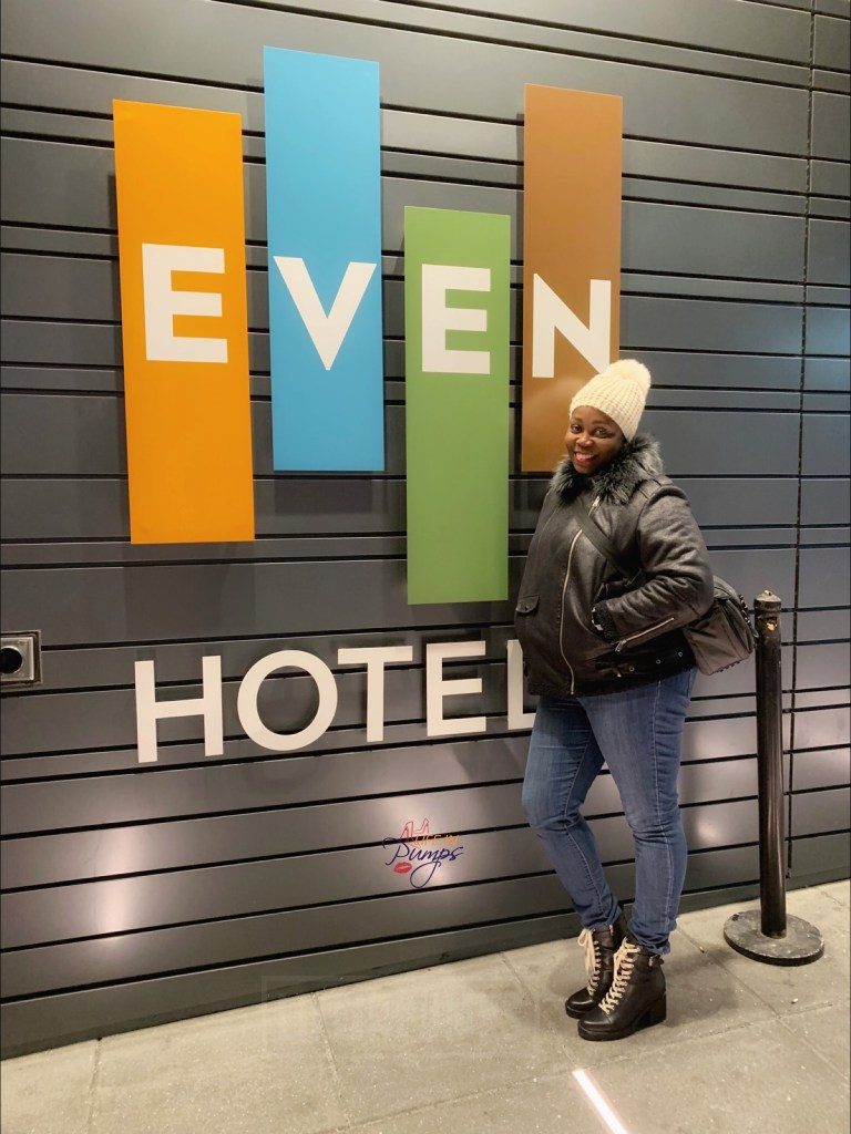 Tomika Talks Brown Girl near Even Hotels Midtown NYC door