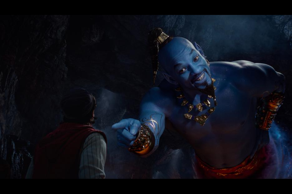 Will SMith is the Blue Genie in Aladdin. Disney film in theaters on May 24th