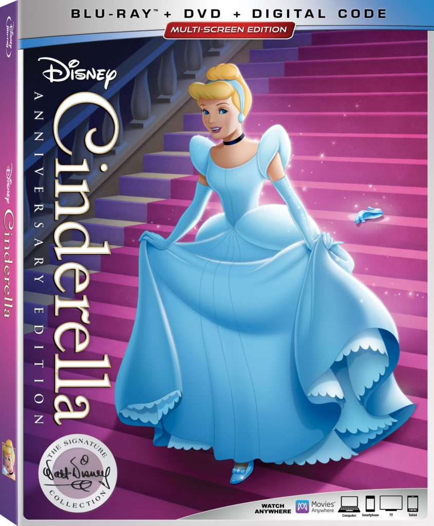 Cinderella Blu-Ray DVD Digital code anniversary edition with new cover.