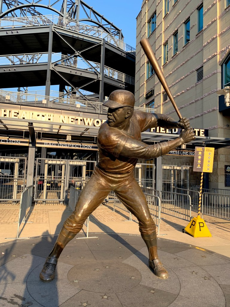 Roberto clemente statue in front of PNC Park near Fairmount hotel