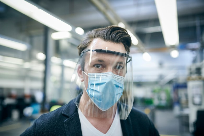example of ford motor company face shields for essential works ppe during the corona virus pandemic