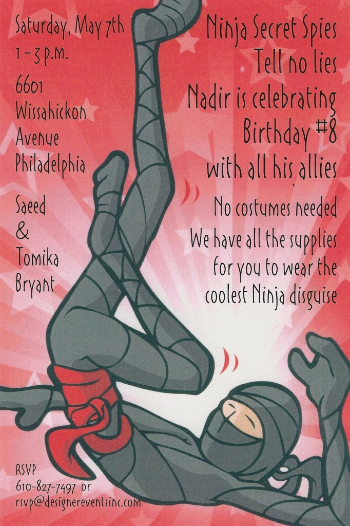 Outrageous Ninja Party invitation. party ideas for Covid-19 quarantine celebrations