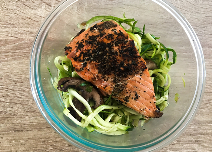 Garlic & Pepper Seared Salmon With Zoodles