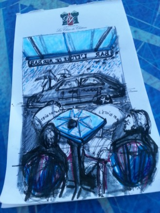 Blue drawing of the view from Cafe L'Étoile de Mer