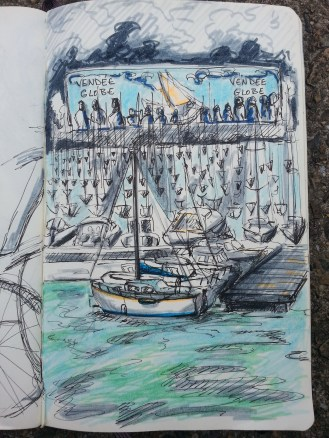 Colourful drawing of Port Olona, Les Sables d'Olonne depicting many boats and the vendee globe tents in the background