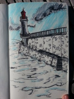 Sketch drawing using blues and a spot of red of the light house in La Chaume on a sunny day with only a few small clouds in the sky
