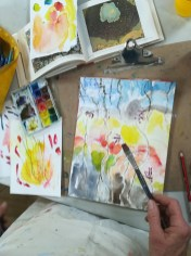 Art student experimenting with watercolour