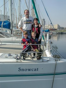 Massey family in Barcelona abord sailboat.