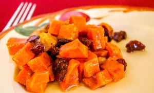 Roasted Sweet Potatoes with Sour Cherries