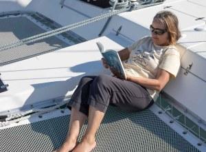 Karen relaxing with a book