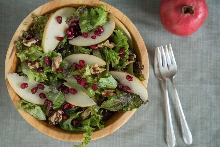 Salad with Apple, Pomegranate Seeds