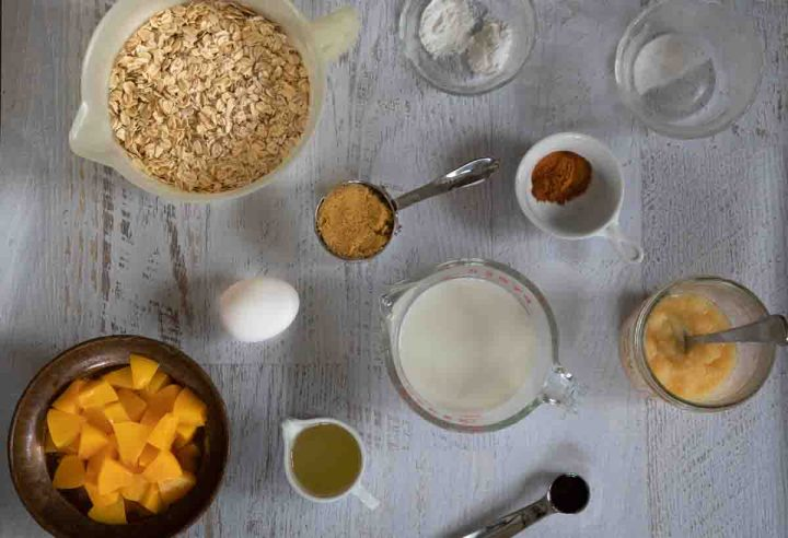 ingredients for Baked Peach Oatmeal