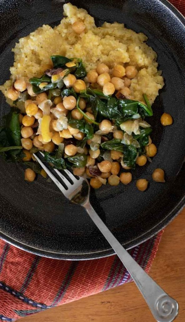 braised garbanzo beans over polenta