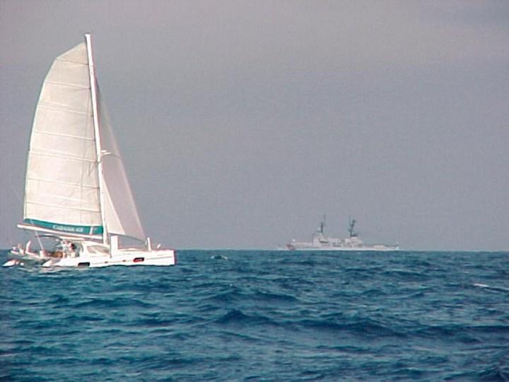 Snowcat sailing with traffic