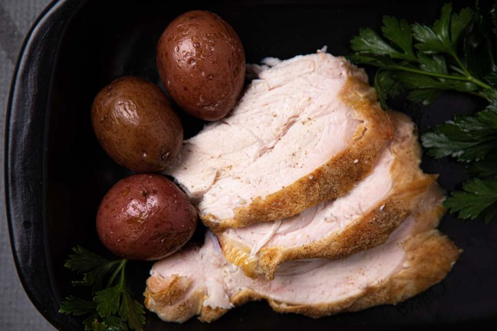 a serving of Peppery Turkey Breast with potatoes